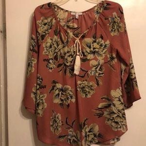 Brand new peasant-style mauve floral top by MoaMoa